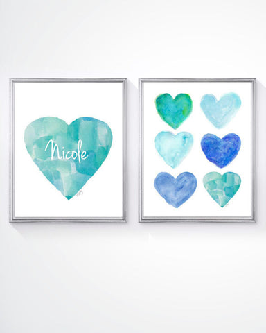 aqua and navy kids art prints- personalized set of 2
