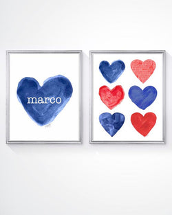 red and blue hearts-personalized set of 2 art prints