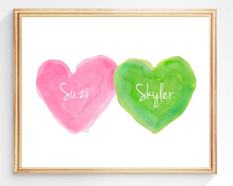 twins nursery art print-hearts in hot pink and lime green