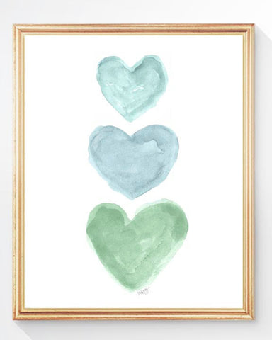 blue and green hearts for nursery-art print
