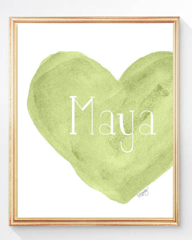green personalized heart art print for girls