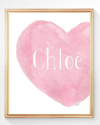 pink heart print personalized with name