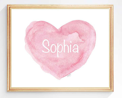 pink heart with personalized name-horizontal art print