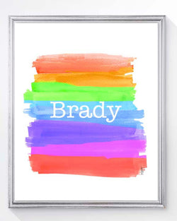 rainbow brushstrokes art print for kids personalized with name
