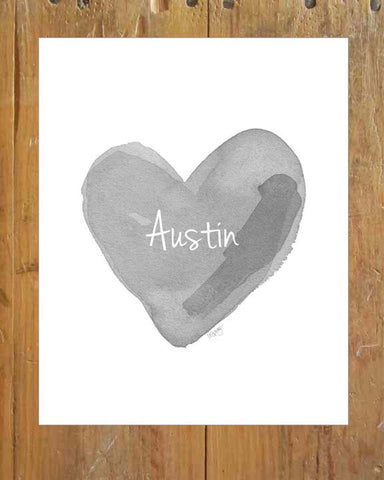 gray watercolor heart art for nursery personalized with name