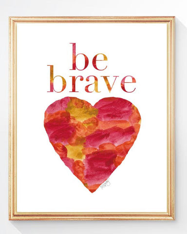 be brave- red watercolor heart art print