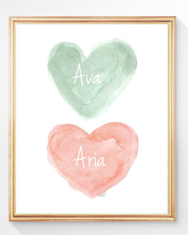 twin girls nursery art print-hearts in mint and coral