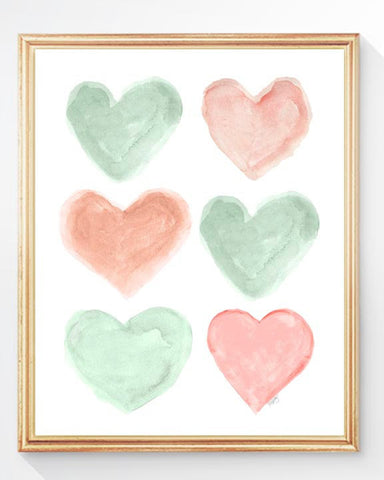 coral and mint heart collage art print