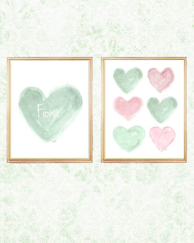 pink and mint personalized heart art-set of 2