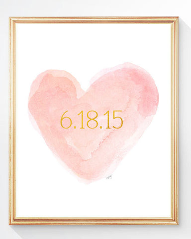 blush and Gold personalized heart art print with date
