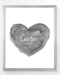 charcoal heart art print-personalzied with name