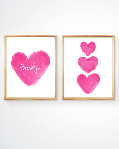 set of 2 personalized hot pink heart art prints for girls