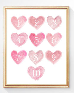 Numbers Heart print in pink