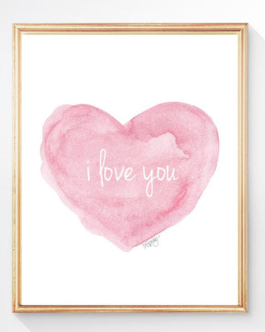 pink heart with i love you-art print