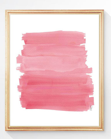 pink brushstrokes watercolor art print