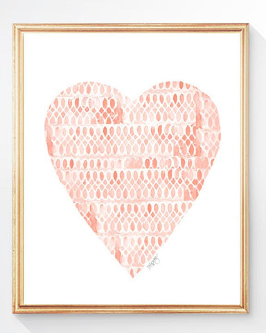coral heart with lace pattern-art print
