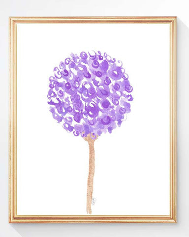 purple flower art print for girls room