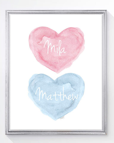 twins nursery art print-hearts in pink and blue
