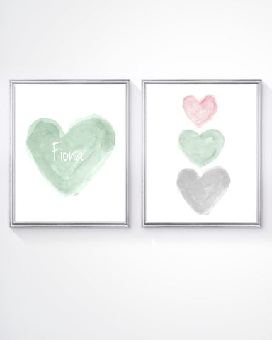 mint and pink heart art-personalzied set of 2 art prints