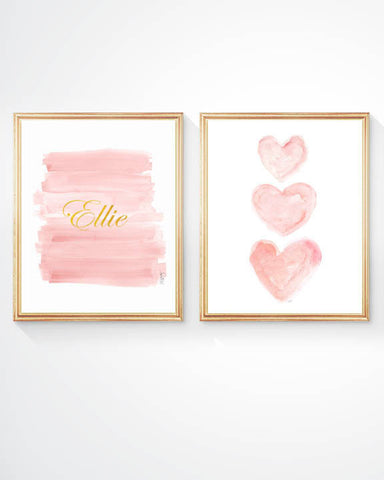Blush and gold ombre and heart personalized prints-set of 2