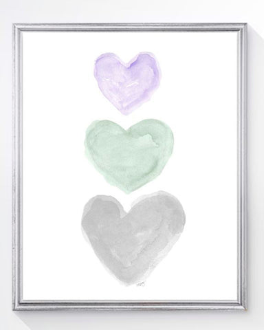 pink, mint and gray heart art print for nursery