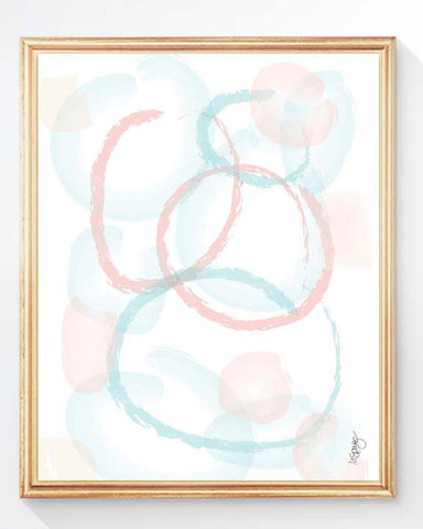coral and aqua abstract part print for nursery