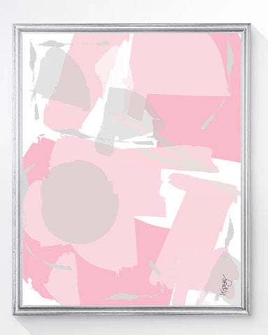 pink and gray abstract art for nursery