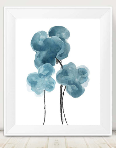 teal blue watercolor flower art print