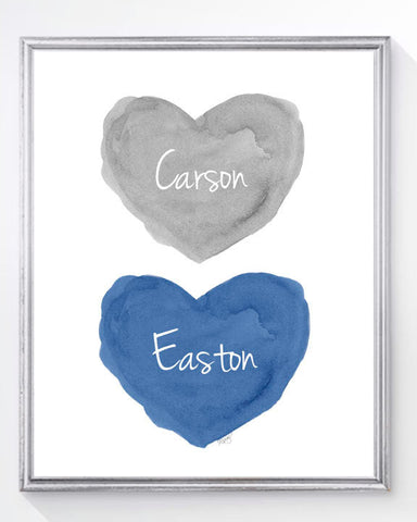 twins nursery art print-hearts in navy and gray