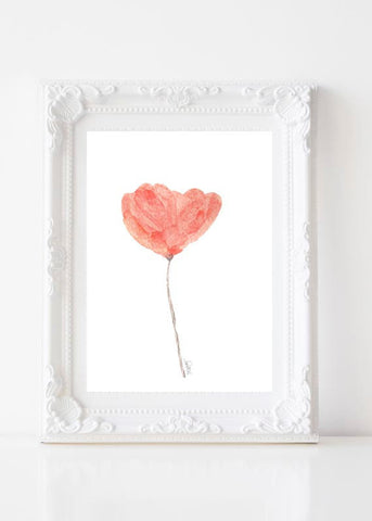 coral watercolor tulip art print