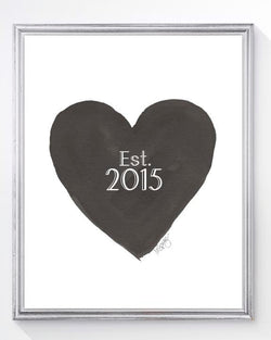 New home Art Print- Black heart with Est. and date