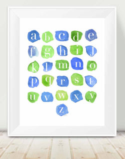 abc print blue and green