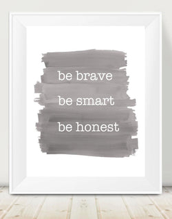 Boys Inspirational Quote, Brave Smart Honest-Gray