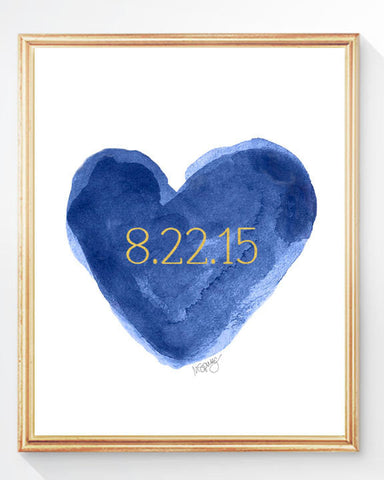 navy and Gold personalized heart art print with date