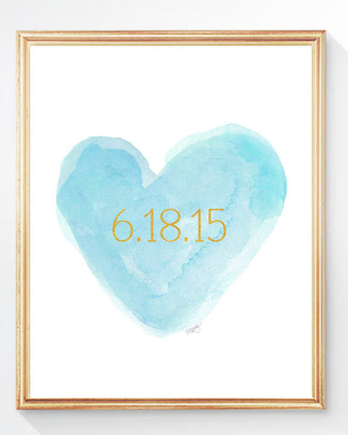 Aqua and Gold personalized heart art print with date
