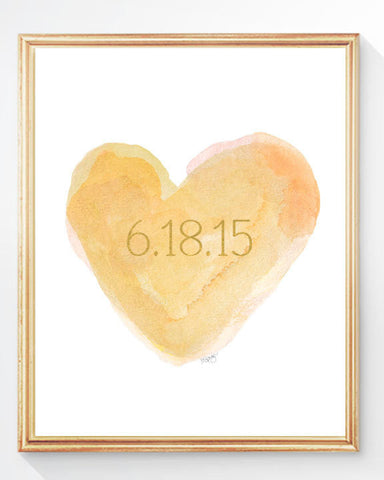 yellow and Gold personalized heart art print with date