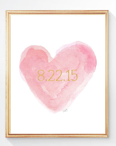 pink and Gold personalized heart art print with date