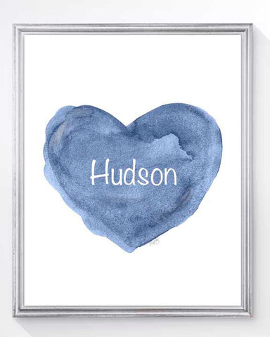 boys personalized blue heart art print for nursery