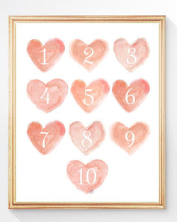 coral hearts numbers art print for nursery
