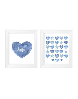 Blue heart print and ABC's-personalized with name-set of 2