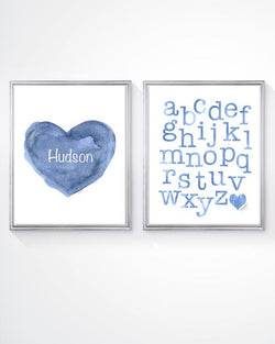 blue personalized heart and ABC's-set of 2 art prints for kids