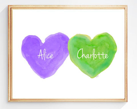 sisters art print-hearts in purple and lime green