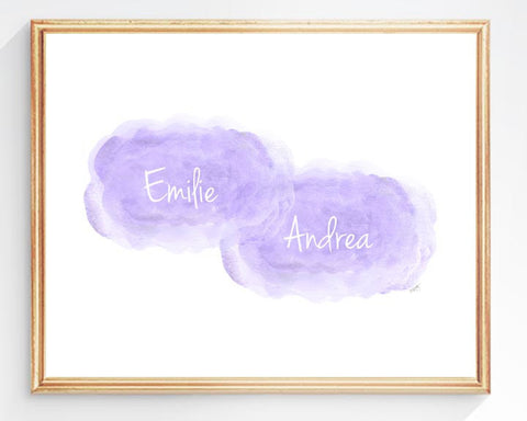 twin girls personalized art print-lavender clouds