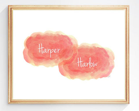 coral cloud art print for twin girl's-personalized with names