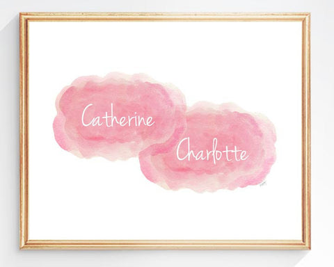 twin girls personalized art print- pink clouds