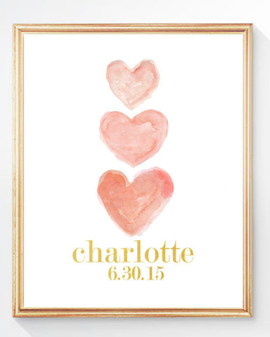 coral hearts with gold name and birth date- personalized art print
