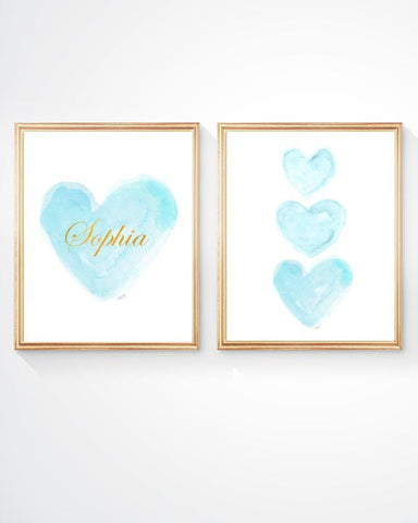 Aqua and Gold Heart- Personalized-Set of 2