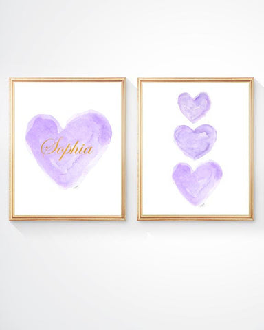 purple hearts-set of 2 art prints personalized with gold lettering