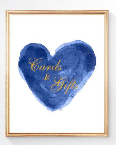 cards and gifts table sign in navy and gold