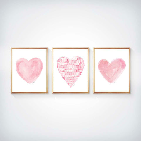 Set of 3 pink heart art prints for nursery or girls room